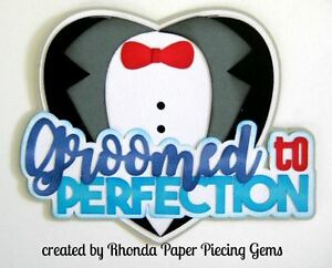 WEDDING GROOM paper piecing title for Premade Scrapbook Pages album die cut by R