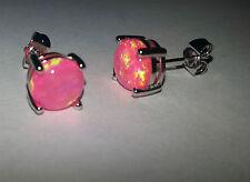 2 Zarte Edle Ohrstecker 925 Silber Ohrringe / Ohrstecker mit Opal pinkfarbe