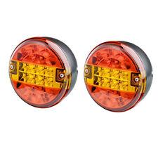 COPPIA di 12v/24v Volt LED POSTERIORE UNIVERSALE ROUND HAMBURGER Coda Lampada Luce Rimorchio