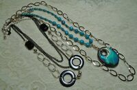 VINTAGE TO NOW BLACK & TURQUOISE BLUE LUCITE BEADED SILVER TONE NECKLACE LOT