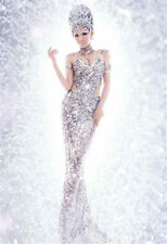Sexy Women's Silver Sequins Pageant Dress Mermaid Bar Party Halloween Costume