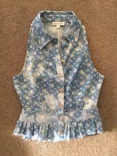 Ladies LULU & ROSE sleeveless cropped floral denim shirt SIZE S worn once.