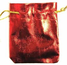 Luxury Christmas satin finish 100 RED 7x9cm party favour bags wedding pouches