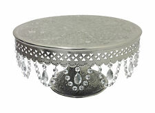 "GiftBay Wedding Cake Stand Round Pedestal Silver 18"" With Hanging Glass Crystals"