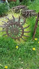 Vtg Steel Spiked Wheel Rotary Hoe Lawn Garden Farm Sunflower