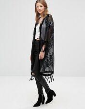 Jayley Women's Black Summer Silk Long Devore Black Jacket