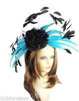 Turquoise and Black  Fascinator Hat for Weddings/Ascot WIth Headband G1
