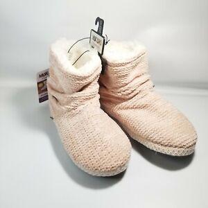 Muk Luks Chenille Bootie Slipper, Blush Pink, Size 9-10