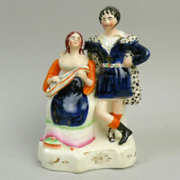 ANTIQUE VICTORIAN STAFFORDSHIRE POTTERY MUSICIAN FIGURE GROUP C.1850