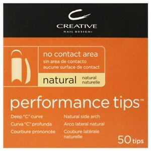 CND Performance Tips for Acrylic UV Gel, Nail Size 1-10 White or Natural 50 Pack