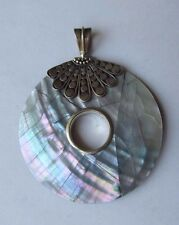 "925 Sterling Silver Abalone Shell 2"" Round Pendant ~FREE  Gift Box~"