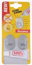 METALTEX GREY SAFE FIX 2 PIECE HOOKS WITH EXTRA STRONG GLUE