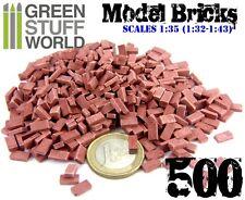 500x Mattoncini Rossi in Ceramica 1/35 (1/32-1/43) mattoni per Diorama Figurini