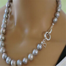 10-12mm natural south sea baroque grey pearl necklace 18 inches Party Charm