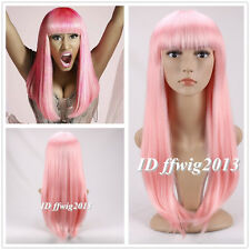 DELUXE NICKI MINAJ LONG PINK STRAIGHT COSPLAY FASHION WIG+A WIG CAP