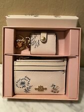Coach NWT Boxed Mini Skinny ID Case Picture Frame Bag Charm Set Dandelion Floral