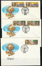 Russia 1992 set of 3 FDC covers Famous Russian explorers .Sc 6087-6089.Globe.