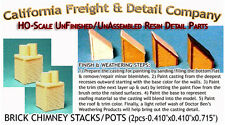 BRICK CHIMNEY STACKS/POTS (2pcs) Scale Model Masterpieces/Yorke HO/HOn3/HOn30