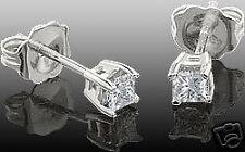1/4CT DIAMOND PRINCESS CUT STUD EARRINGS 14K WHITE GOLD