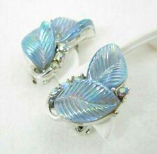 Vintage Lisner Signed Thermoset Molded Blue Leaves Leaf Rhinestone Earrings