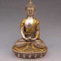 China Old Tibet Silver Gilt Handwork Tibetan Buddhism Statue -- Sakyamuni Buddha
