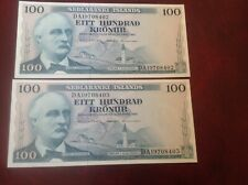 More details for 2 consecutive 100 iceland kronur banknote dated 1961 unc