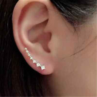 Women Fashion Rhinestone Silver Crystal Earrings Ear Hook Stud Jewelry Gifts New