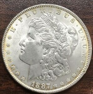 Choice Uncirculated 1887 Morgan Silver Dollar 90%