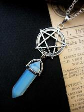 Moonstone Pentacle Necklace Quartz Pointer Silver Reiki Gothic Crystal Pendant