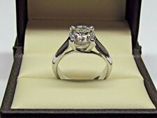 Ring Solid 14K White Gold Certified 2.00Ct Round Moissanite Solitaire Engagement