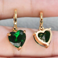 18K Gold Filled Earrings Women Morganite Green Heart Drop Zircon Fashion Gift BR