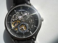 Fossil Automatic men's black leather analog watch.mechanical & Automatic.ME-3020
