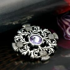 Scottish/Celtic Vintage Thistle Brooch/Pin with Purple Stone in Box Present/Gift