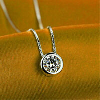 "2.00 Ct Round Cut Bezel Set Solitaire Pendant W/18"" Chain 14k White gold Finish"