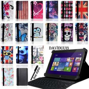 LEATHER STAND COVER CASE + Bluetooth Keyboard For Various Dell Venue 7 8 10 Tab