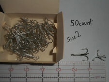 MUSTAD size 2 TREBLE HOOK 7790 OPEN RING AND SHANK TINNED 50 count EASY SWITCH