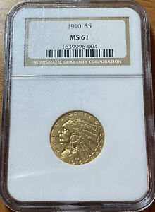1910 NGC MS61 Indian Head Gold $5 Half Eagle Collector Coin