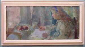 Jacqueline Williams NEAC(1962) British Large Impressionist Oil Painting PORTRAIT