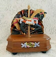 Carousel Horse Music Box - Wooden Base