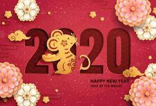 2020 Happy New Year Mouse Rat Flowers Red Backdrop 7x5ft Vinyl Photo Background