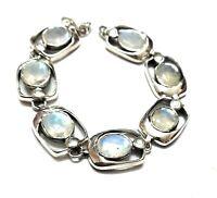 "Rainbow  Moonstone Natural Gemstone Handmade 925 Sterling Silver Bracelet 7-8"""