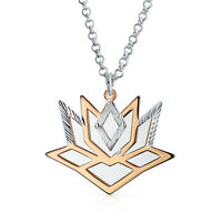 2 Tone Lotus Flower Pendant Necklace Rose Gold Plated Sterling Silver