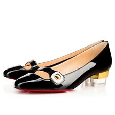 Christian Louboutin Bibababy 35mm Charol Negro Manoletinas Planos Zapato 40.5