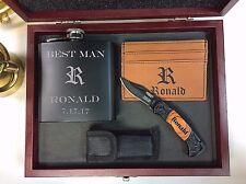 4 Personalized Custom Gift Set Flask, Pocket Knife, Money Clip Groomsmen Gift
