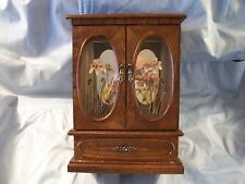 Solid Wood & Glass Jewelry Keeper w/Music Box