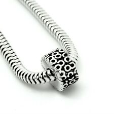 SWIRL CLIP- Serpentine-Hinged stopper/Lock- Solid 925 sterling silver charm bead