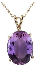 9.83 Carat Natural 16x12mm Purple Amethtyst 14K Solid Yellow Gold Pendant