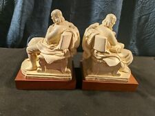 Beautiful pair vintage Cream Resin. Ben Franklin bookends. Look hand molded nice