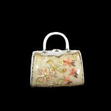 Vtg Seashell White Wicker Lucite Box Purse Handbag Tropical Island Miami Tiki
