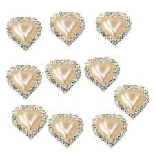 10pcs Heart Flatback Crystal Pearl Button Rhinestone Embellishment Champagne